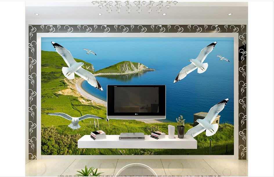 Custom 3d photo wallpaper 3d wall mural wallpaper grassland island scenery seagull 3 d background wall paintings 3d living room