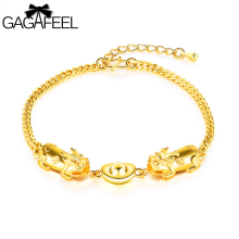 GAGAFEEL Gold Color Bracelet For Wamen Fashion Jewelry Lucky Bangle Link Extend Chain Bracelets Pendant Girls