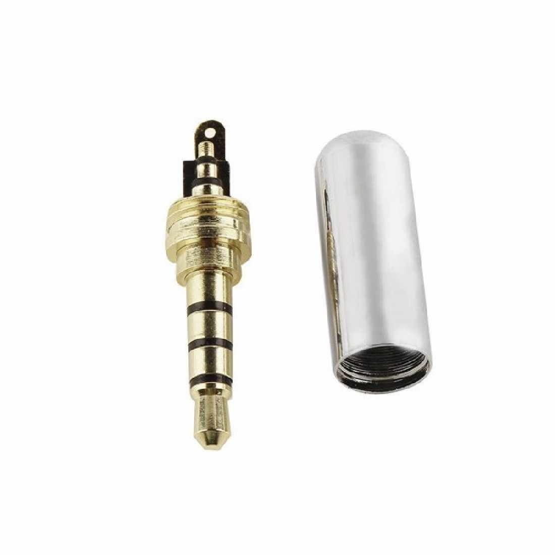 Stereo Jack Plug 3.5 mm 1/8 4 Poles Dual Channel Cover Connector Plugs for Headphone Earphone Soldering