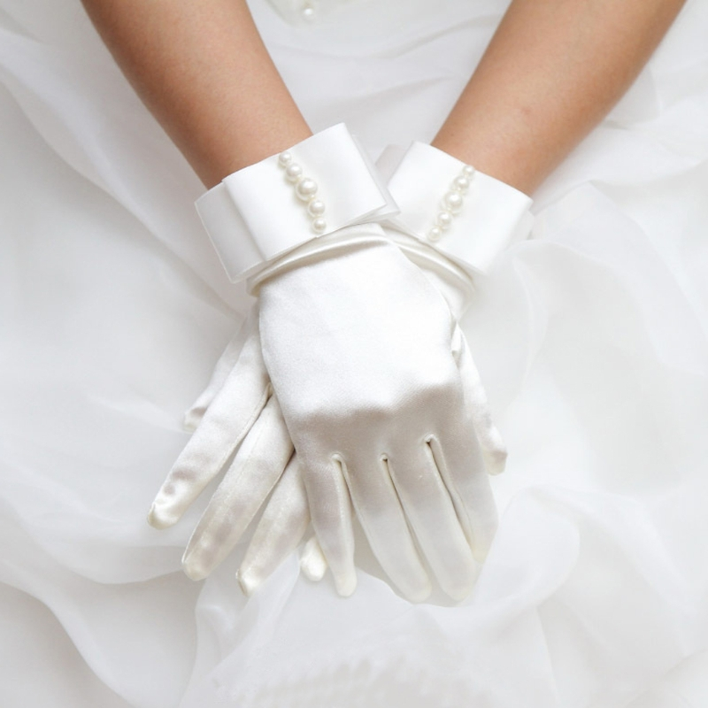 Short Full Fingers Faux Pearl Beaded Womens Bridal Wedding Gloves With Bow Satin