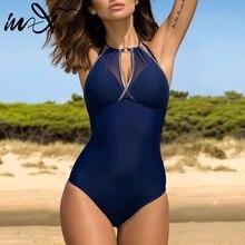 In X Mesh one piece swimsuit female Plus size swimwear women Push up bikini 2019 sexy bodysuit one piece suits Beach wear XXXL