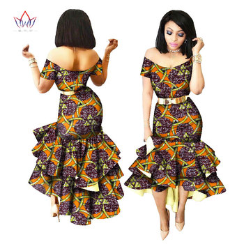 2019 New African Wax Print Dresses for Women Bazin Riche Cotton Party Dress Dashiki Sexy African Fashion Clothing WY2205 4