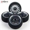 4 шт./компл. 1:10 RC автомобильные шины плоские дрейф шины обода колеса хаб для HSP / HPI On - роуд автомобилей игрушки аксессуары PP0111 + PP0338