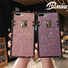 цена на Luxury Gold Glitter Bling Button for iPhone X XR XS MAX 8 8 Plus 7 7 Plus Soft PU Fashion Girl Back COVER FOR iPhone 6s Plus