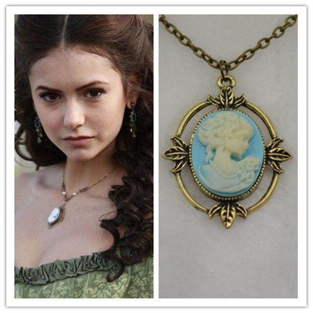 2014 nuevo anuncio nueva Vampire Diaries Katherine joya belleza cabeza colgante de collar de collar de mujer