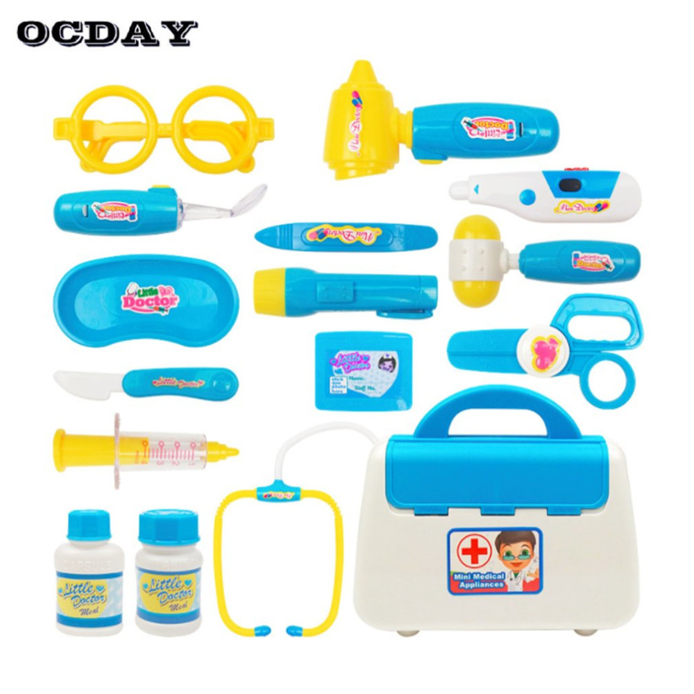 OCDAY 15PCS Pretend Play Sets Kids Doctor Toys Medical Case Role Play Doctor Nurse Medical Case Baby Gift Educational Toy Kit