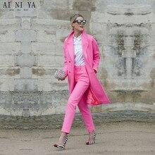 2017 fashion 2 piece set women business suits ladies long lenght jacket blazer set female office uniform style elegant pant suit
