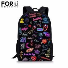 FORUDESIGNS Hip Hop Rock Music School Bag for Kids Girl Boys Black Backpack Preppy Bolsa Youth Child Bookbag Mochila Satchel