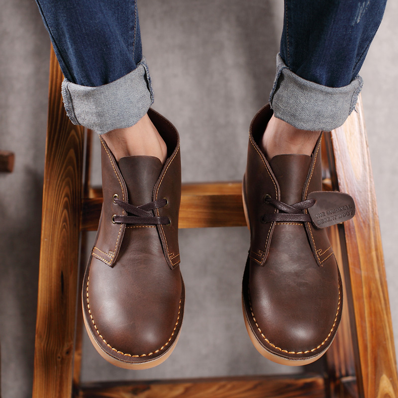 Men's Lace Up Leather Short Ankle Desert Boots