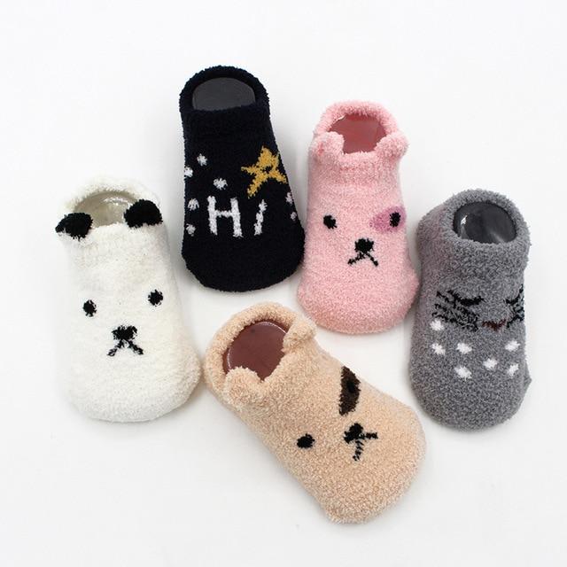 Non-slip Baby Socks Autumn Winter Coral Fleece Socks Warm Toddler Boy Girls Floor Socks Infant Clothing Accessories Thicken 2