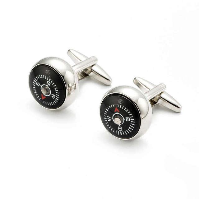 Vagula Cuff Links Novelty Compass Design Gemelos Plated Silver Round Brass Cufflinks 280