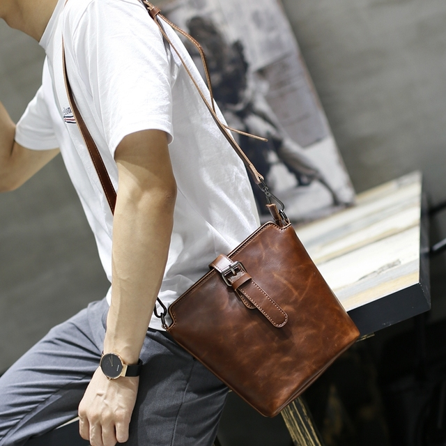 Xiao.p Fashion Crazy Horse PU Leather Crossbody Bag For Men Vintage  Shoulder Bag Small Mini Men s Bags Young Gift