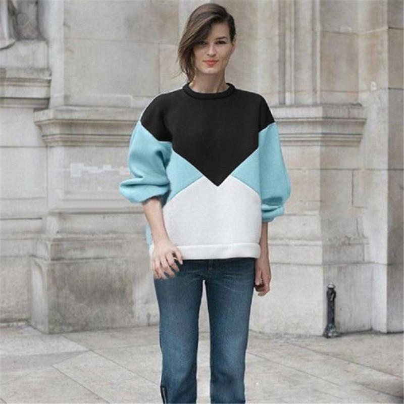 11 11 2017 Durable HOT Hoodies & Sweatshirts Cotton Blend Womens Casual Long Sleeve Patchwork Sweatshirt Tops Shirt #42