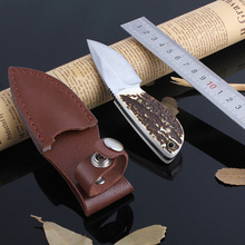 Mini Thumb antlers Hunting Knifes 7Cr17 Blade Camping Survival Knives Outdoor Hunting EDC rescue tool pocket knife gift