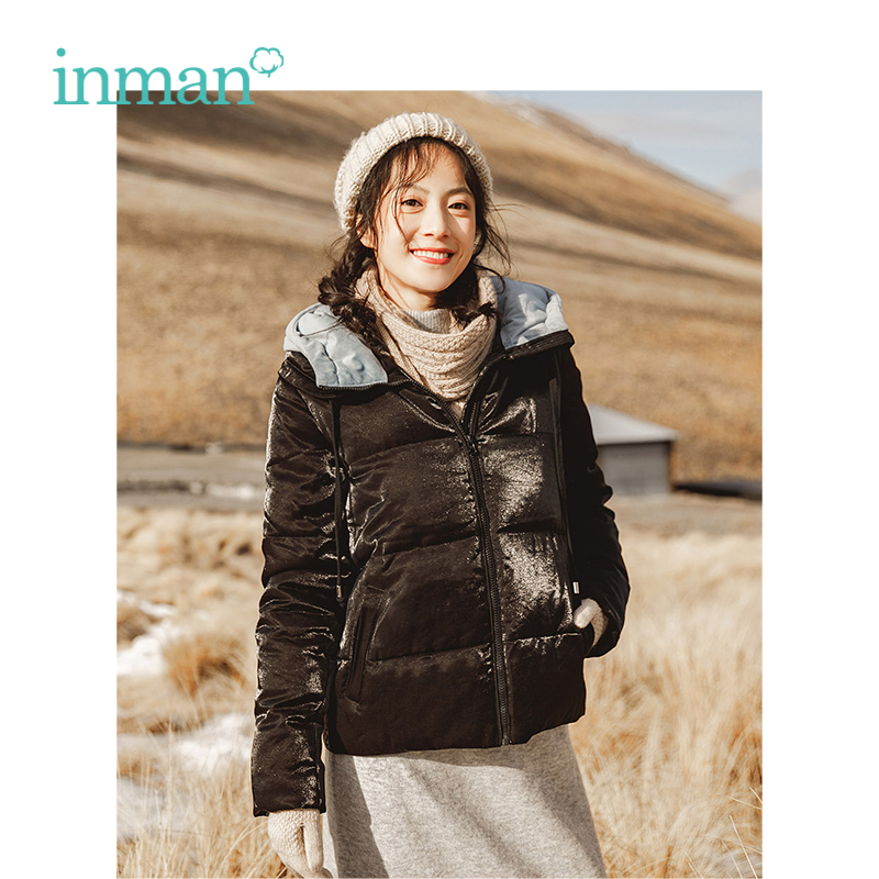 INMAN Winter New Arrival Female Hooded Contrast Color Thick Warm Fashion Women Short Section   Down     Coat