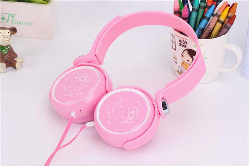 เด็กหูฟังน่ารักสำหรับเด็กหญิงปรับหูฟัง Hello Kitty สำหรับ iPad โทรศัพท์มือถือคอมพิวเตอร์ MP3/4