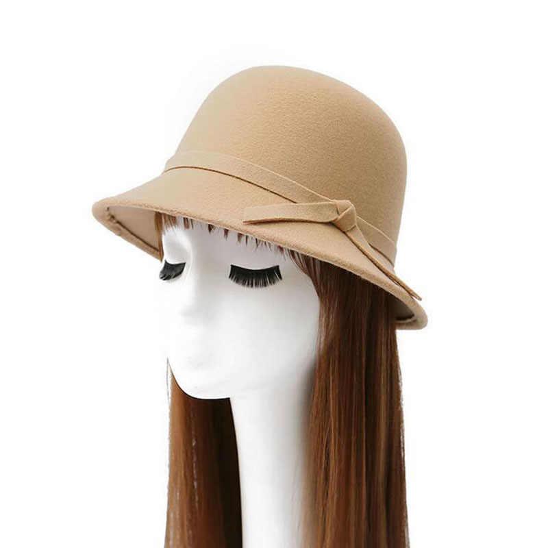 2017 جديد 6 ألوان النساء قبعة bowknot الصوف فيدوراس غطاء حوض من قبة الصوف القماش قبعة الإناث القماش حوض غطاء شحن مجاني