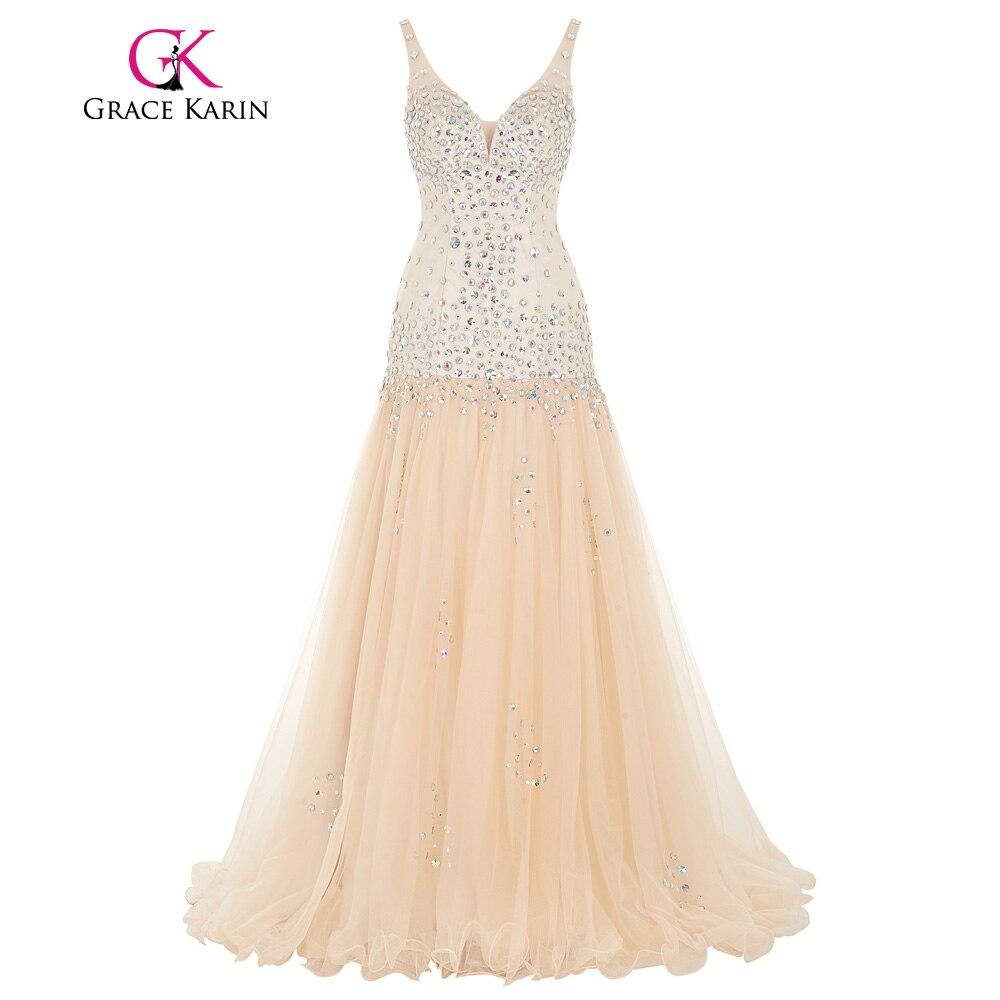 Grace karin vestido de novia correas espaguetis tulle de la sirena de lentejuela