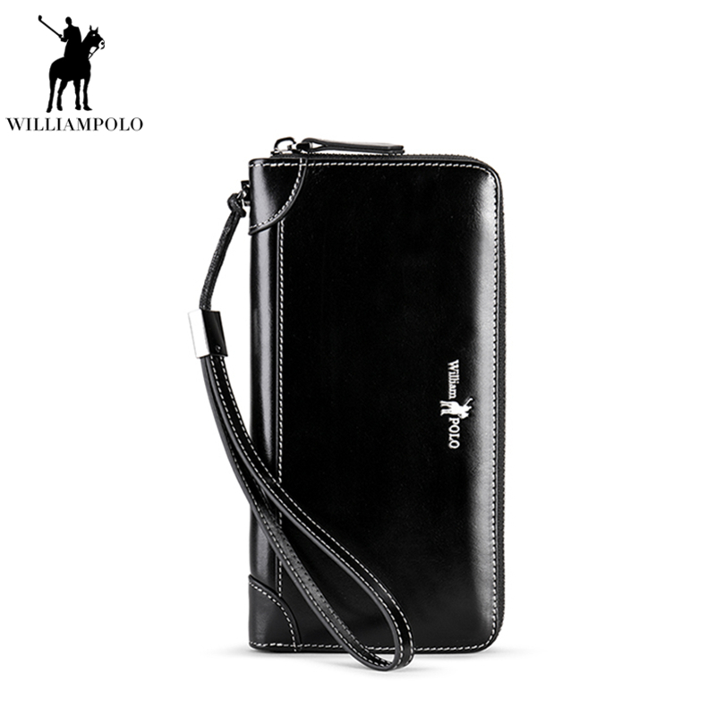 WILLIAMPOLO Genuine Leather Wallet Men Business Black Clutch Wallets Long Wallet Zipper Coin Card Holder Luxury Wallet PL171326 never leather badge holder business card holder neck lanyards for id cards waterproof antimagnetic card sets school supplies