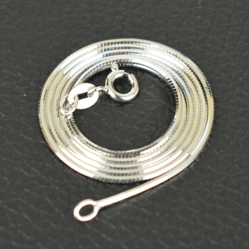 Murni 925 Sterling Silver Italia Dicap Ramping Tipis 0.65mm Snake Rantai Kalung untuk Liontin Pesona Fashion Perhiasan untuk Wanita Gadis