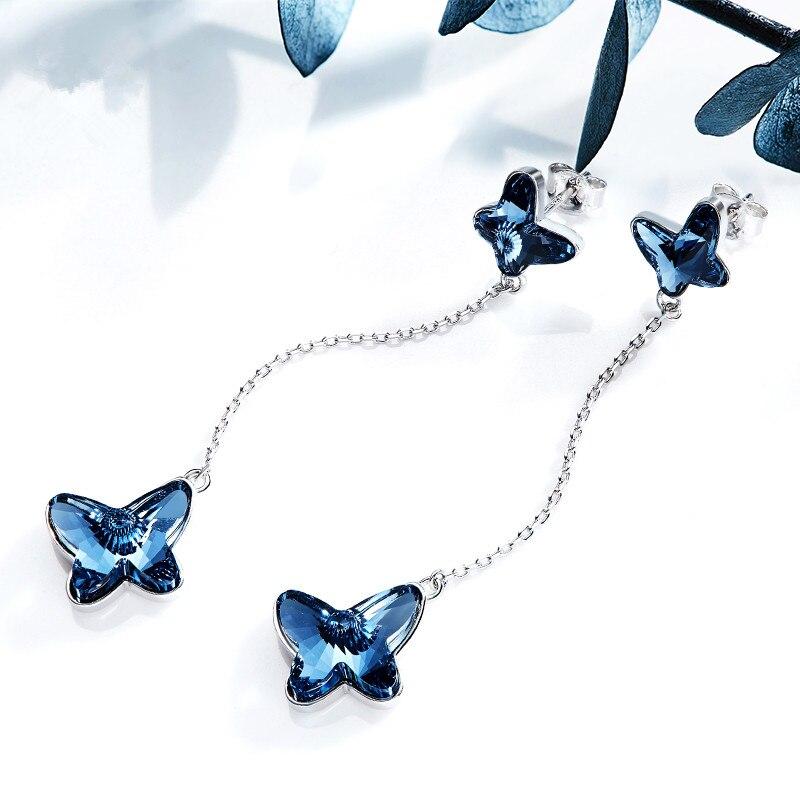 Euramerican 925 pure silver ear nail female butterfly eardrop Crystal Earrings