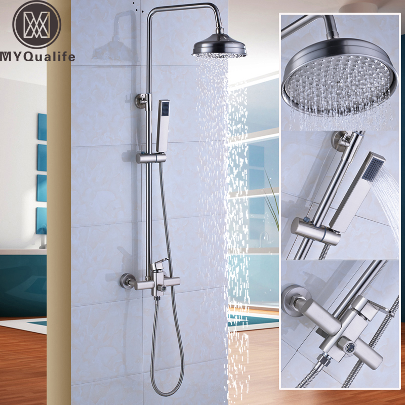 Brushed Nickel Shower Faucet Complete Set with Handshower 8 Brass Rain Shower Head Hot and Cold Water Taps for Shower