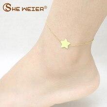 5a9bbc5022ef Ella WEIER de acero inoxidable de la joyería tobillera estrella para las  mujeres pulsera de tobillo