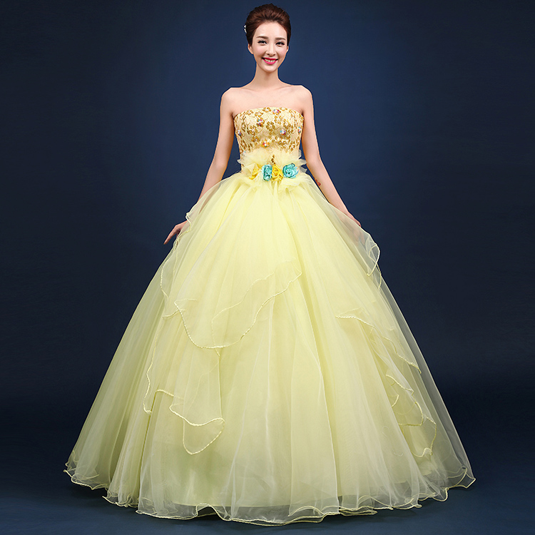 Online Buy Wholesale yellow strapless dress from China yellow ...