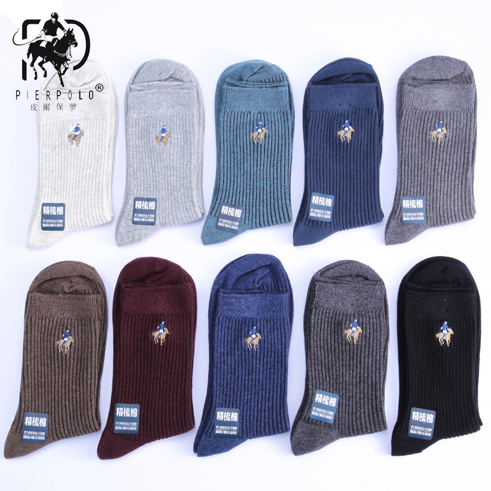 5 Pairs/lot High Quality Fashion Brand PIER POLO Casual Cotton Socks Business Embroidery Crew Men's Socks Manufacturer Wholesale