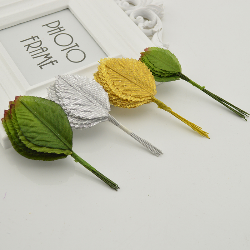 24 Pcs 10 CM Nylon Silk Leaf Green Leaves Artificial Flower For Wedding Decoration DIY Wreath Gift Scrapbooking Craft Fake Flowe