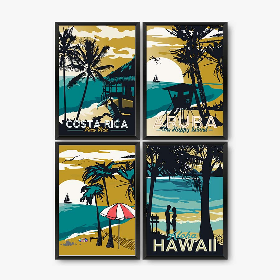 Modern Hawaii Aruba Costa Rica Impressionist Style Canvas Art Paintings Prints Wall Picture for Living Room Home Decor No Frame in Painting Calligraphy from Home Garden