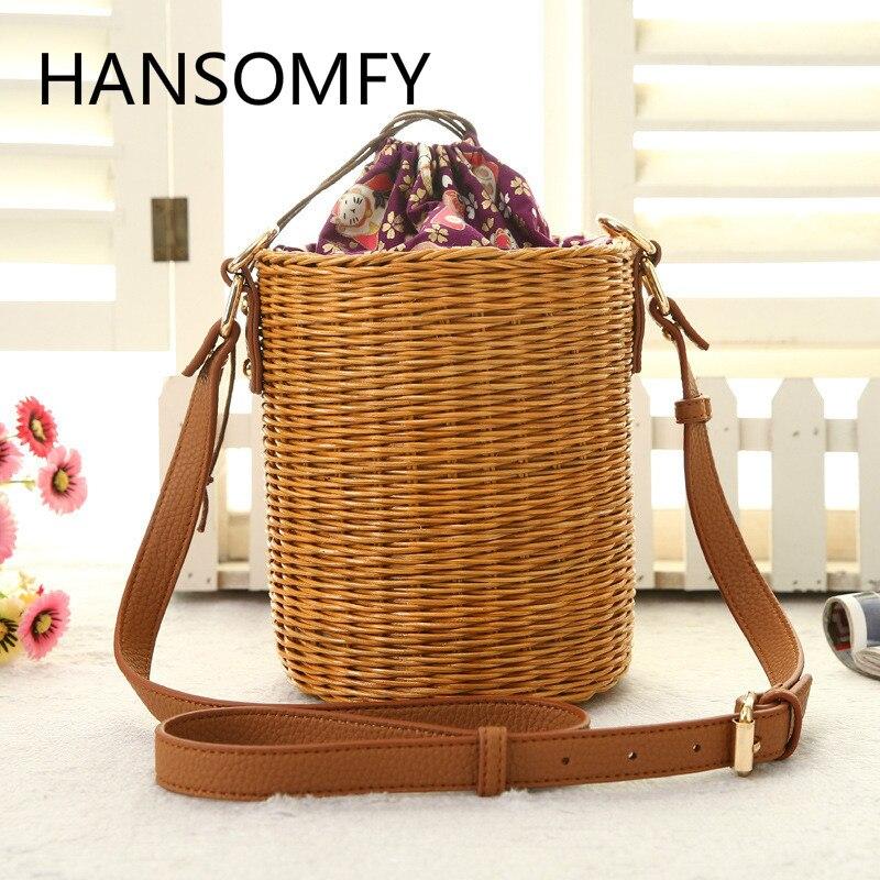 HANSOMFY |Fashion Hand Woven Bucket Round Rattan Straw Bags Bohemia Style Beach Bag Summer Shoulder Bag Handbag