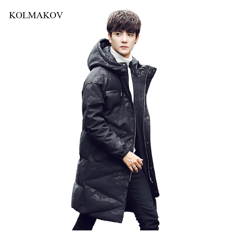 2017 new arrival winter style men boutique long down coats fashion casual hooded zipper coat men solid slim overcoat size M-3XL