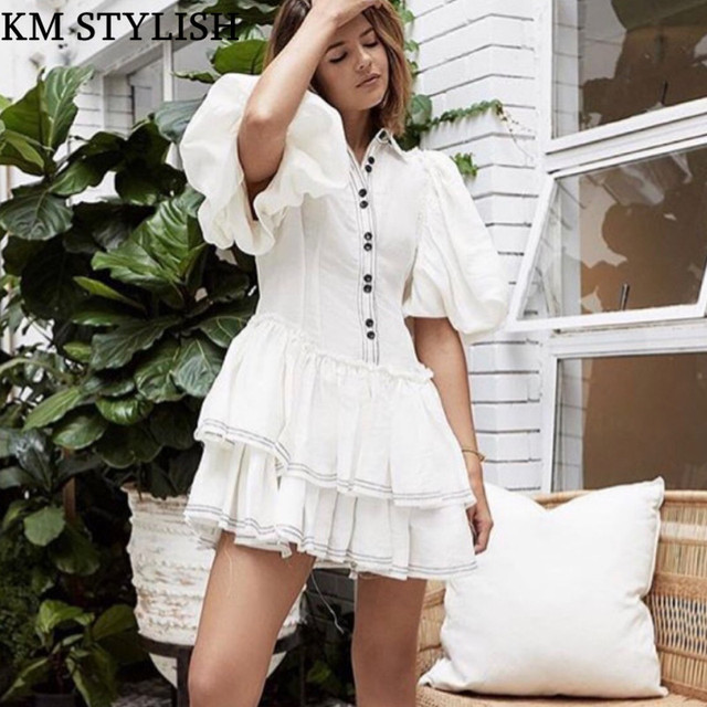 2018 Autumn Vintage French Court Comfort Tencel Fabric White Puff Sleeve Layer Cake Dress S,M,L DROPSHIPPING