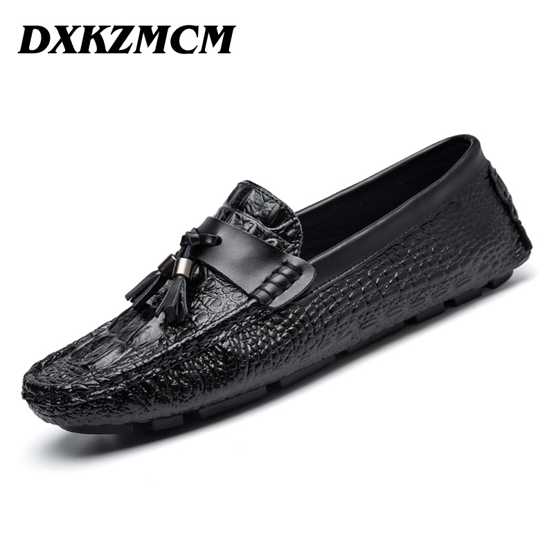 DXKZMCM Men Flats Comfortable Genuine Leather Men Loafers Breathable Casual Driving Brand Soft Men Moccasins split leather dot men casual shoes moccasins soft bottom brand designer footwear flats loafers comfortable driving shoes rmc 395
