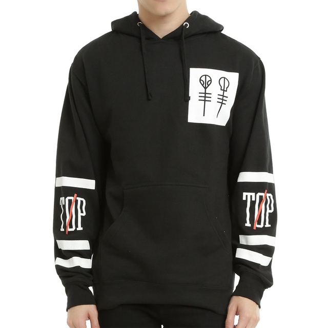 New 2016 Twenty One Pilots Big Logo Hooded Male Streetwear Hip Hop Long Kangaroo Hoodies Men Outerwear Clothing