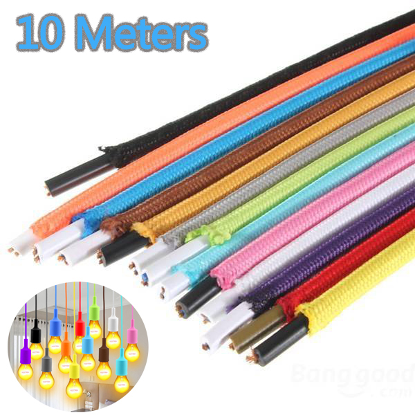 Do It Yourself Home Design: 10 Meters Colorful Textile Fabric Lamp Wire Cord Vintage