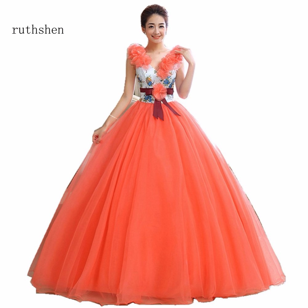 ruthshen New Arrivals Vestidos Quinceanera Dresses Sexy V Neck Warming Orange Color Flowers Attaching Sleeveless Ball Gown 2018