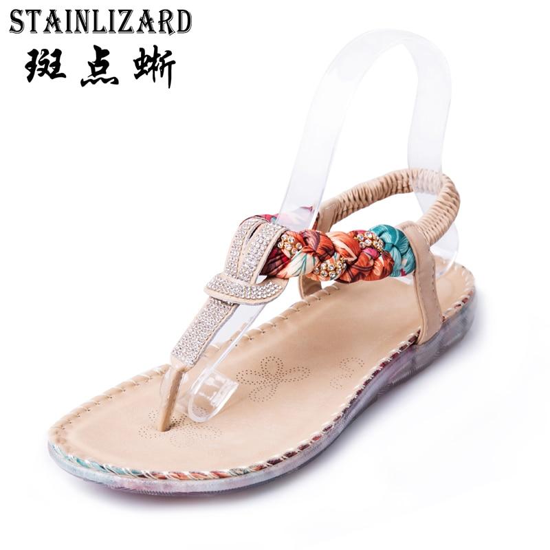 93b30098db900 Women summer shoes fashion national casual flat women sandals Bohemian  diamond Female Beach flip flops shoes Large Size BT538-in Women s Sandals  from Shoes ...