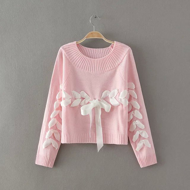 Winter Sweater Women Turtleneck Knitted Sweater Sweet Pink Bowknot Pullover Warm Thicken Long Sleeve Knitted Pullover Sweater