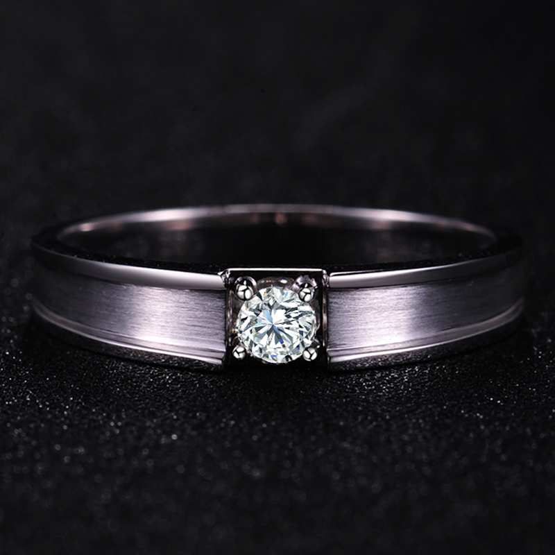 0.20ct Diamond Ring Men Solitaire Natural Diamond Solid 18K White Gold Handmade Wedding Engagement Jewelry