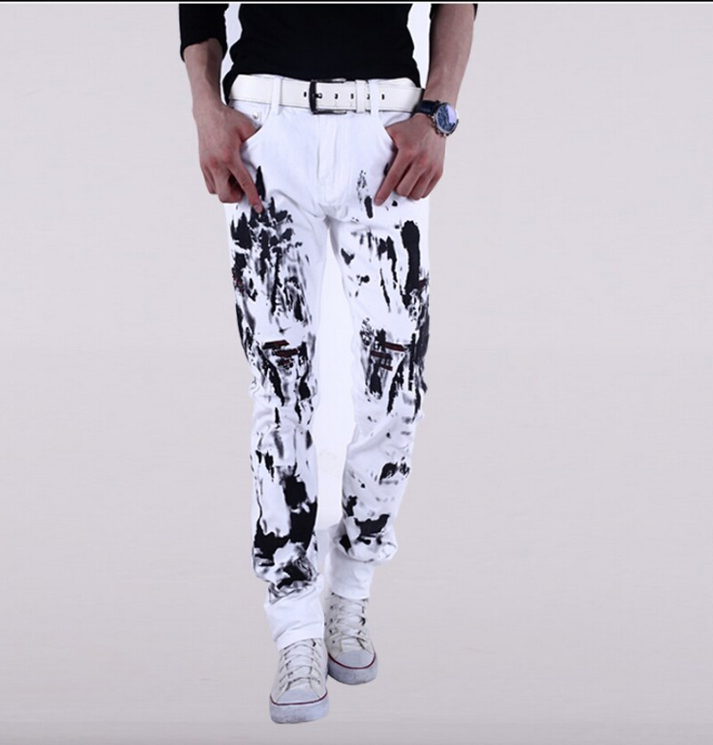 mens jeans 2016 new printed jeans floral print men Hairstylist ink white non-mainstream men