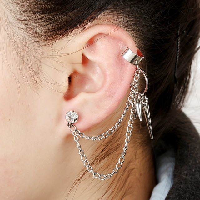 Ear Cuff with Multilayer Link Chain and Fringe Spike