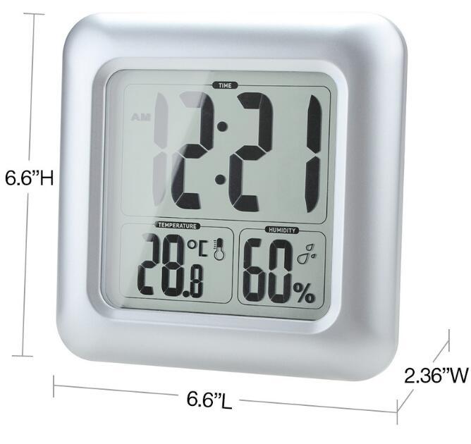 Us 260 40 Offwodoodporny Cyfrowy Duży Zegar ścienny Prysznic Zegary Temperatura Wilgotność Termometr Z Przyssawką Do łazienki Kuchnia 40 Off W