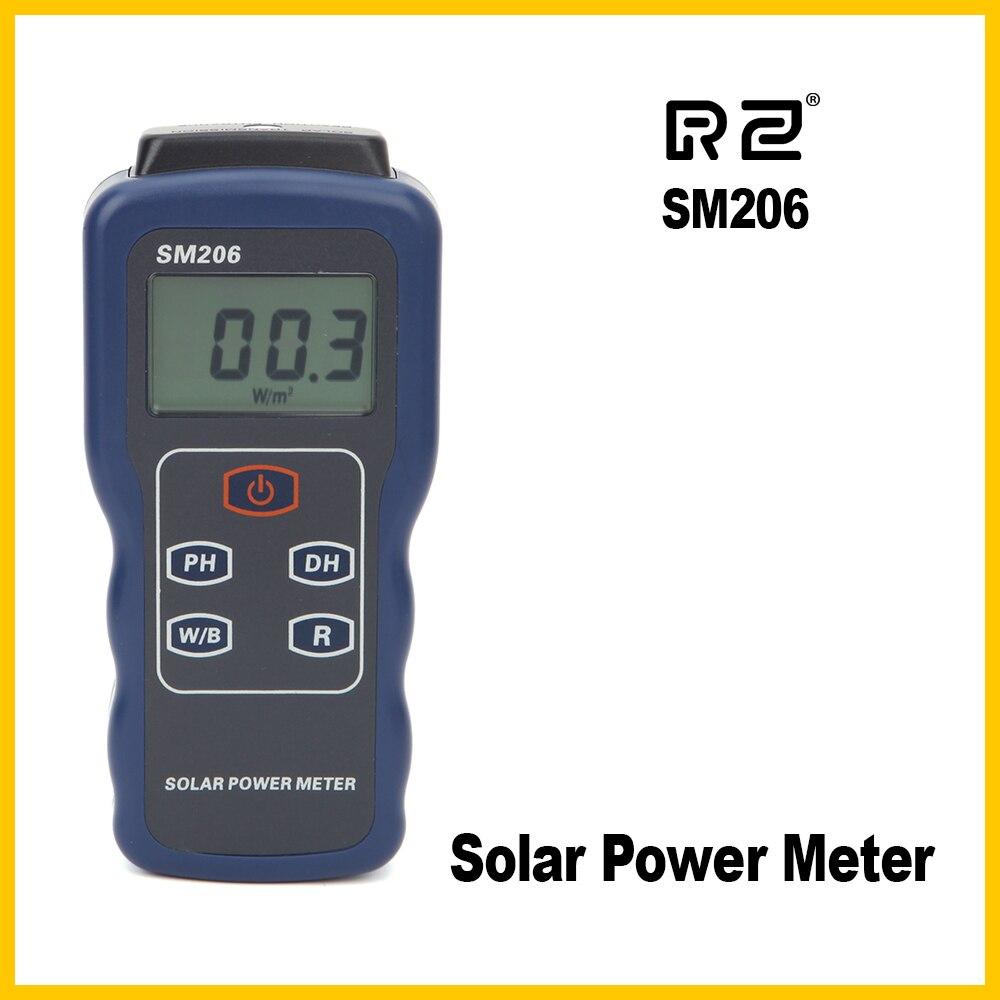 RZ Solare Luce Misuratore di Potenza Misuratore di Radiazione Solare Tester Ottico Ricerca Solare di Vetro L'intensità Della Luce di Dati Peak Hold SM206