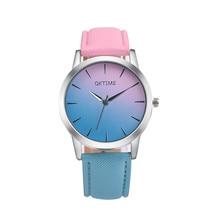 Moda Casual Retro Design Do Arco Íris Assistir Mulheres Quartzo Analógico Relógios Relógio Relogio feminino Senhora Elegante Relógio de Pulso Feminino Horas