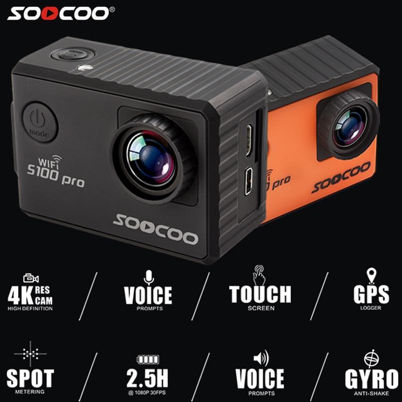 SOOCOO Action Camera S100 Pro Wifi 2.0 4K 24FPS Touch Screen 30M Waterproof DV Built-in Gyro with GPS Extension Sports camera genuine soocoo c30 4k 24fps wifi action sports camera built in gyro 170 degrees lens 2 0 lcd ntk96660 30m waterproof dv