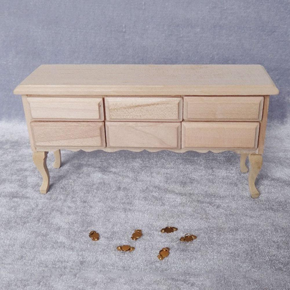 Furniture Toys 1/12 Dollhouse Miniature Accessories Mini Wooden Table Simulation Desk Model Toy Wood Color Furniture For Doll House Decoration