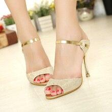 women sandals heels gold sliver ankle-wrap high heel sandals women summer shoes ladies sandals