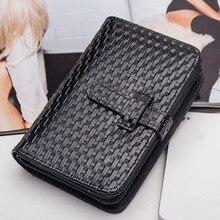 2017 New Vintage Fashion Ladies Black Wallets Knitting Purses Bag Women Zipper Hasp Weaving Embossing Wallet Clutch Wallet Bags